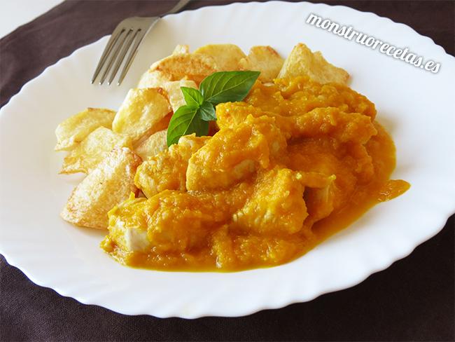 Pollo en salsa de zanahoria