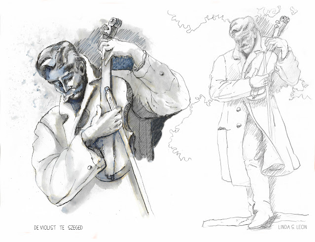 The violinist of Szeged - sketched on location in graphite and ink by Linda S. Leon