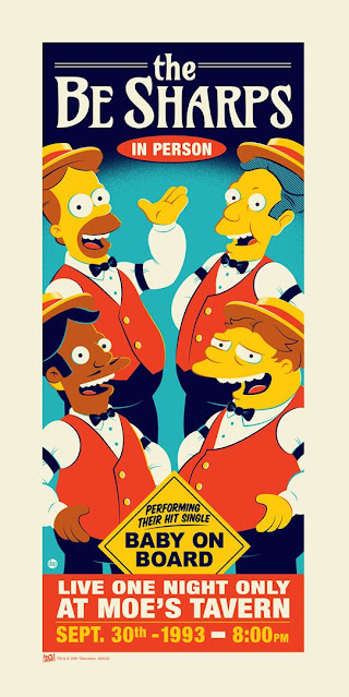 """The Simpsons """"The Be Sharps"""" Screen Print by Dave Perillo x Dark Ink Art"""
