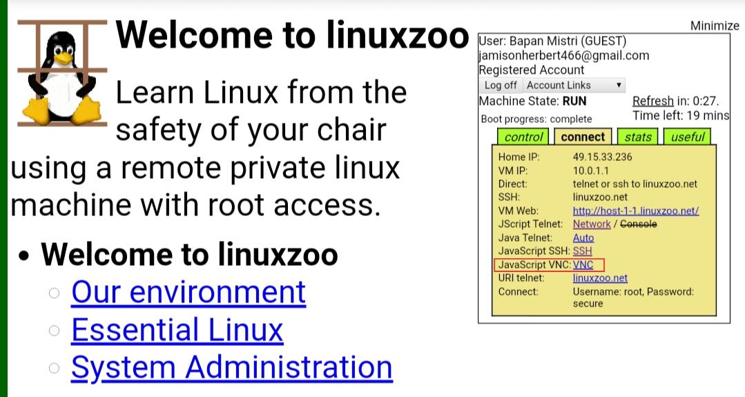 Linuxzoo vnc