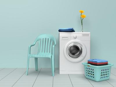3D Washing machine with laundry background