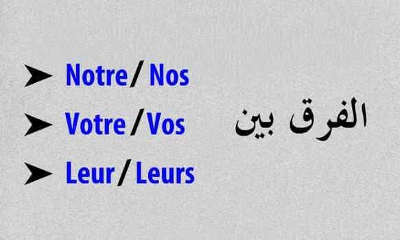 الفرق بين notre وnos وvotre وvos وleur وleurs في اللغة الفرنسية