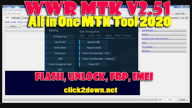 WWR MTK v2.51 All in One MTK Tool (2020) For Flash, Unlock, Frp, imei,Bootloader Unlock