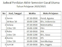 Pengumuman Jadwal Penilaian Akhir Semester Gasal Tahun Pelajaran 2020 - 2021 SMPN 3 Mojogedang