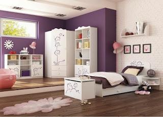 Dormitorio adolescente color morado