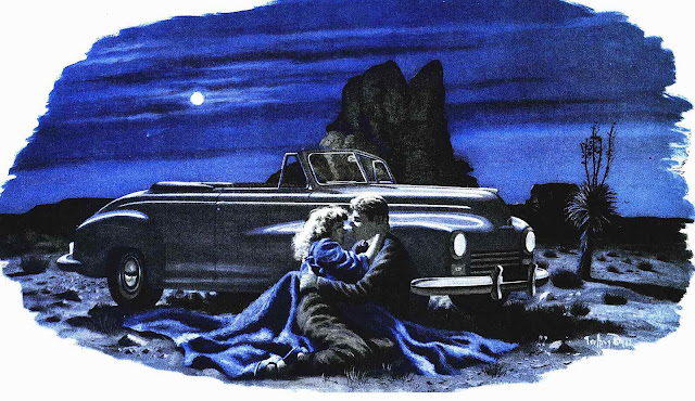a G. Biggs illustration 1948, parked lovers in the blue desert at night