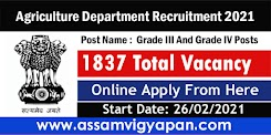 Agriculture Department Recruitment 2021 – Online Apply for 1837 Grade III And Grade IV Posts