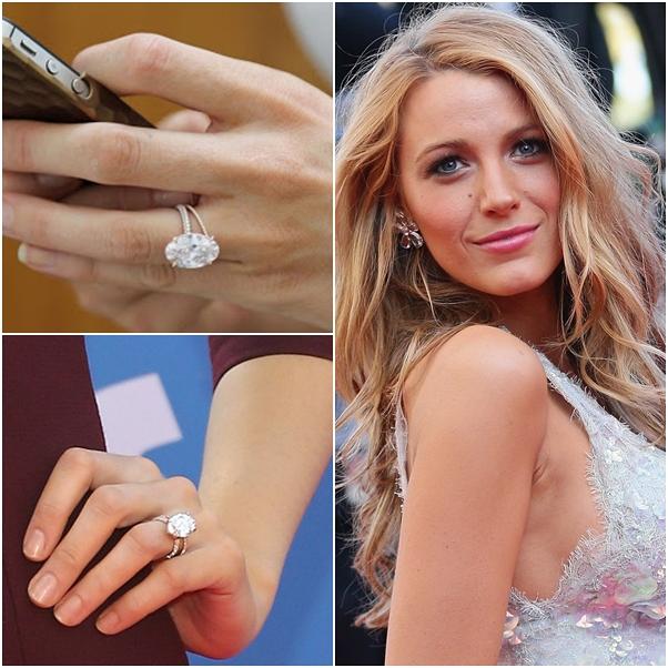 anel de noivado e aliança de casamento blake lively