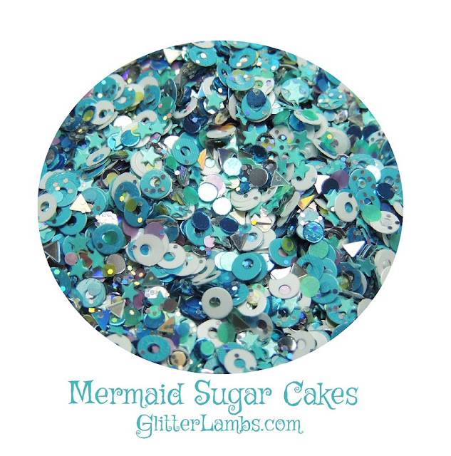 """Glitter Lambs """"Mermaid Sugar Cakes"""" Loose Glitter Mix www.GlitterLambs.com Created by Glitter Lambs   **BRAND NEW IN THE SHOP*** Our Mermaid Sugar Cakes glitter mix has silver holographic triangles, white matte circles, silver metallic dots, blue mini stars, micro silver holographic hex, pastel pink hex, pastel yellow hex, pastel blue hex and pastel green hex."""