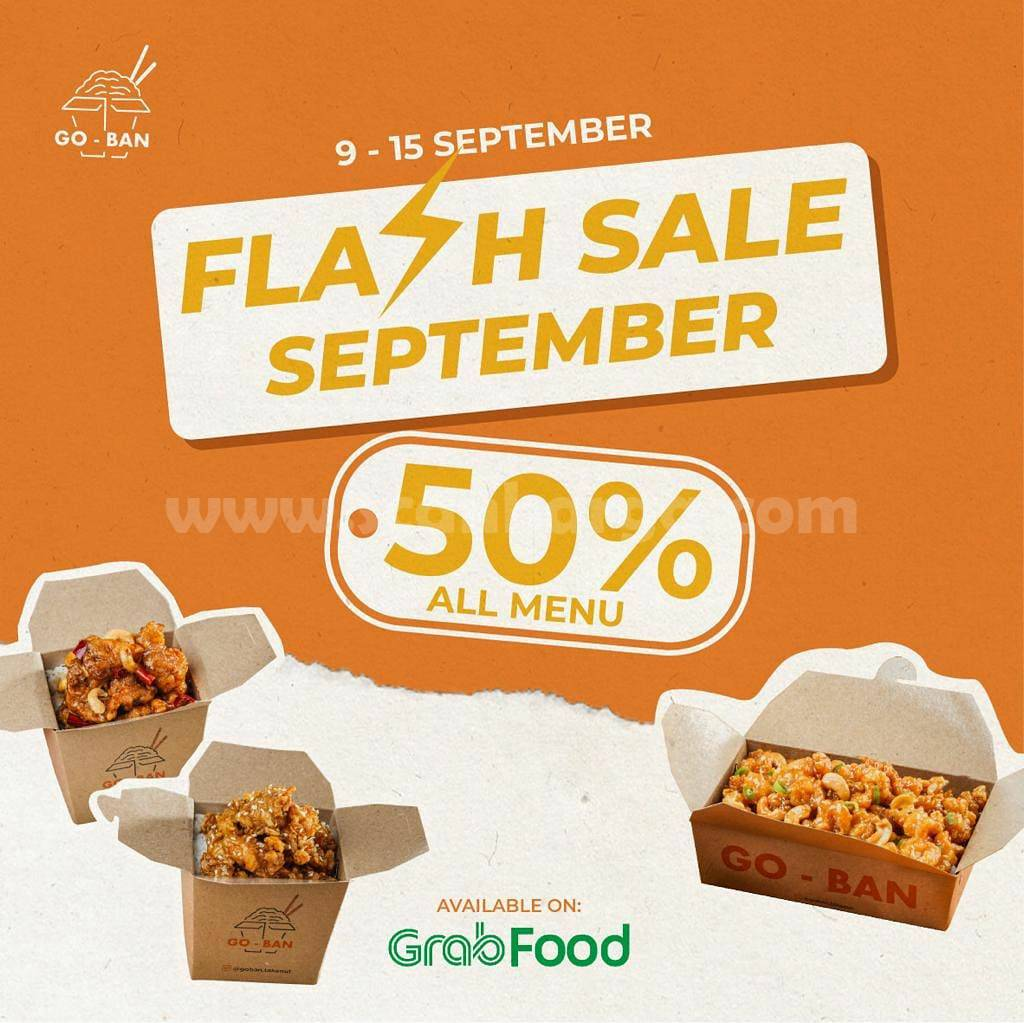 Promo GO-BAN Takeout FLASH SALE DISKON 50% khusus pemesanan via GRABFOOD