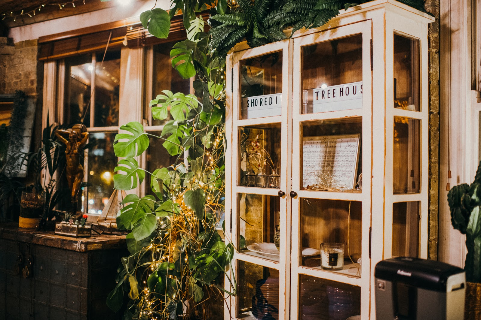 A window with various tall potted plants in front and a white glass cabinet with various ornaments inside.