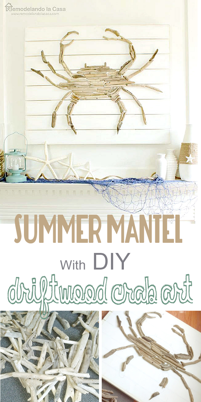 Driftwood used to create a crab art project for summer mantel