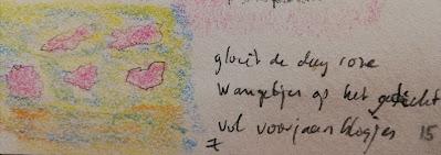 Voorjaarsblosjes tekening met haiku