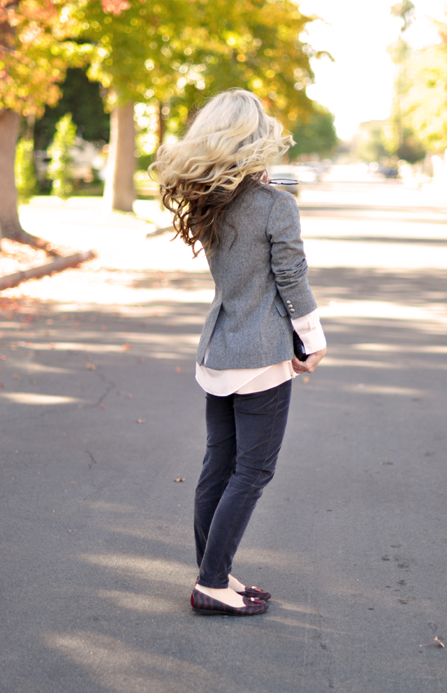 preppy with an edge, gray pink oxblood plum outfit