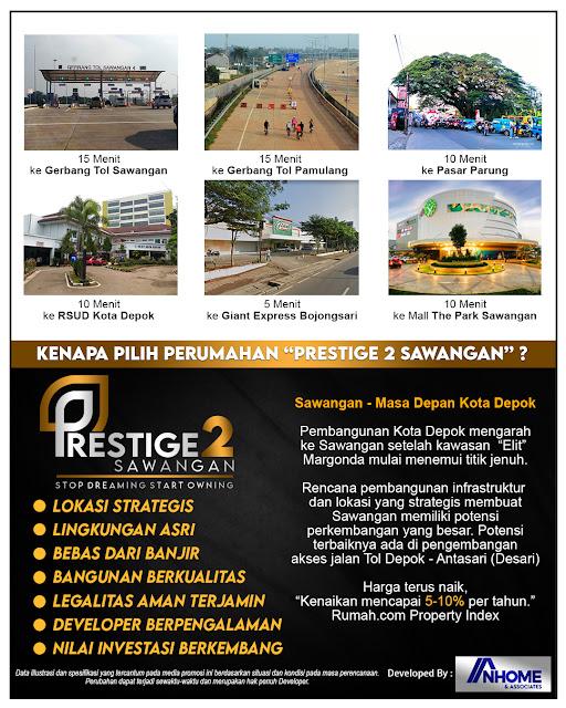 Perumahan Prestige 2 Sawangan, dekat Exit Tol Sawangan, Exit Tol pamulang dan Stasiun Depok Lama,