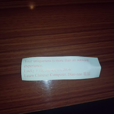 Fortune from a fortune cookie: Your uniqueness is more than an outward experience.