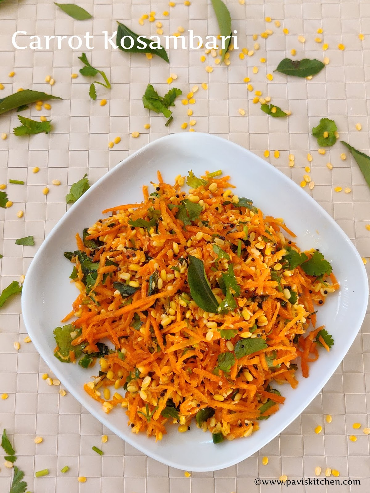 Carrot Moong Dal Salad | Hesaru Bele Carrot Kosambari Recipe | Carrot Kosumalli