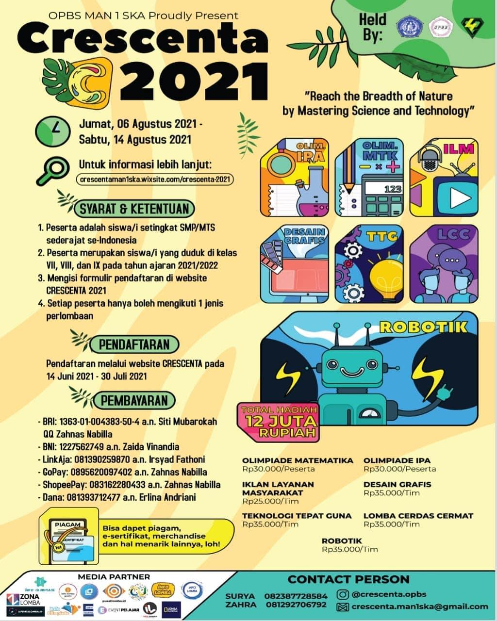 Lomba Olimpiade Crescenta 2021 oleh MAN 1 Surakarta