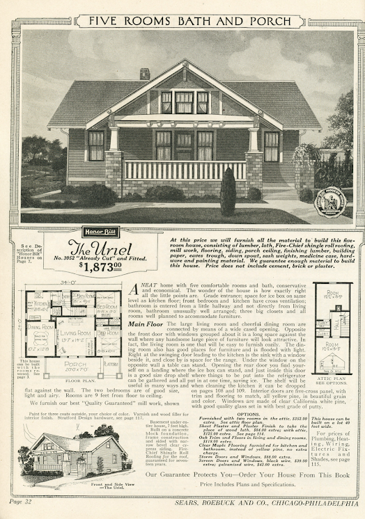 black & white image of Sears Uriel in the 1920 Sears Modern Homes catalog