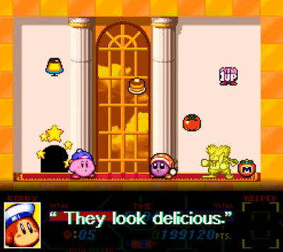 Kirby Super Star Revenge of Meta Knight dialogue Sailor Dee they look delicious hidden tomatoes