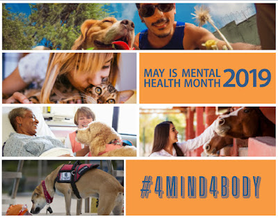 Poster for May is Mental Health Month featuring people with their pets