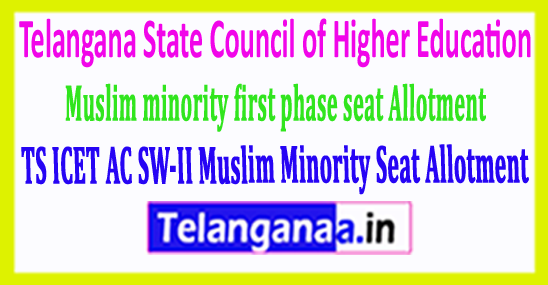TS ICET AC SW-II Muslim Minority Seat Allotment 2018