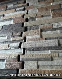 keramik dinding motif batu alam interlock