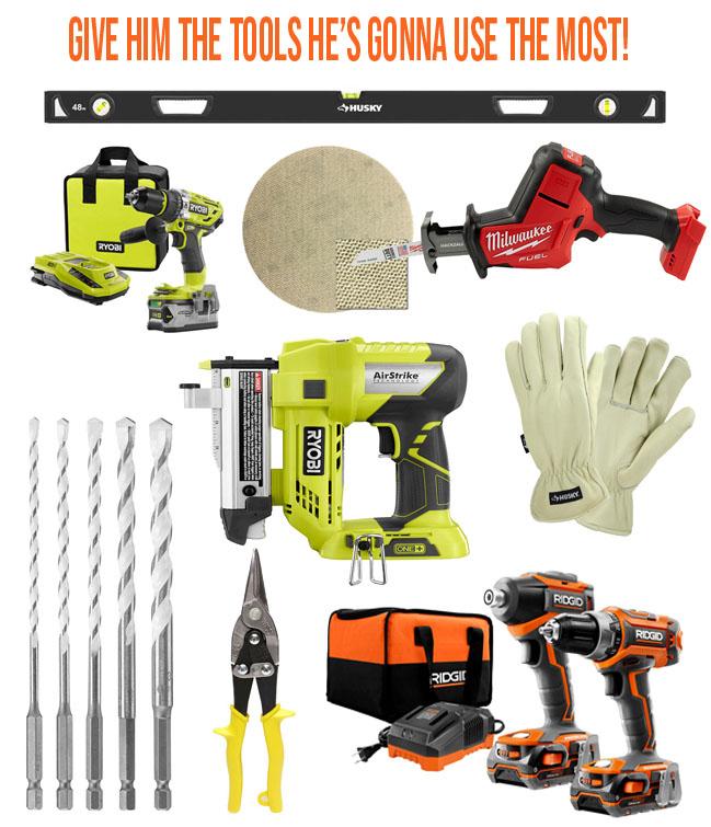 nailer, drills, gloves, tools