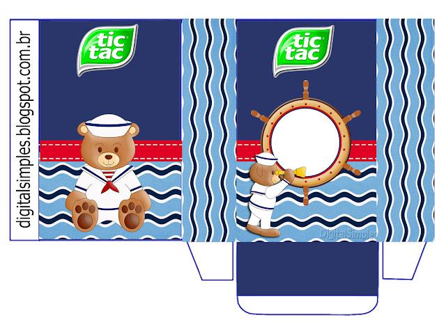 Cajas Tic Tac de Osito Marinero para imprimir gratis.