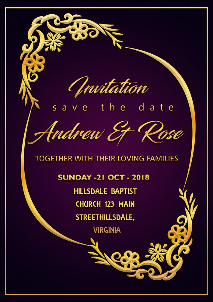 Purple Wedding Invitation Card Template Psd File With Vector Royal Border