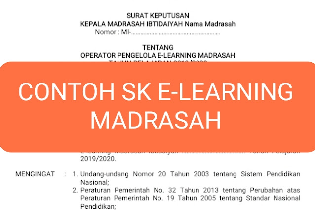 Contoh SK Operator E-Learning Madrasah