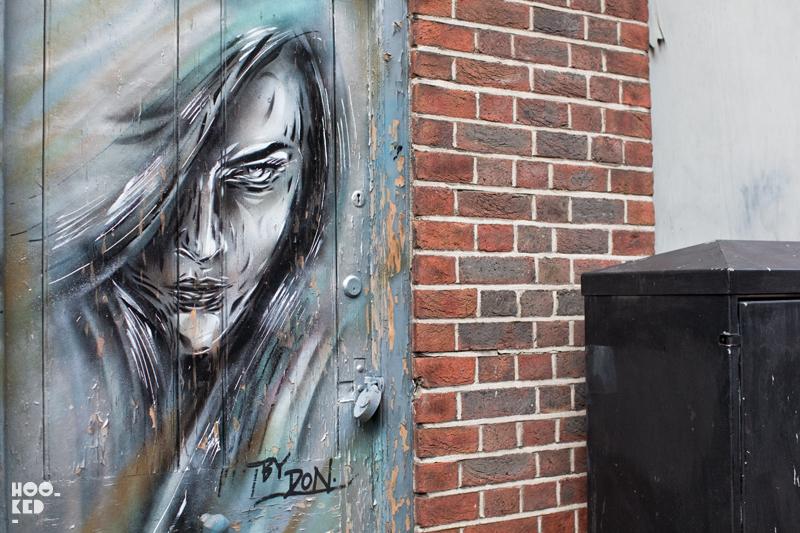 London street art stencil work by artist DON