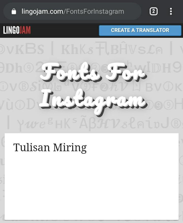 Tulisan Miring Di BIO Instagram
