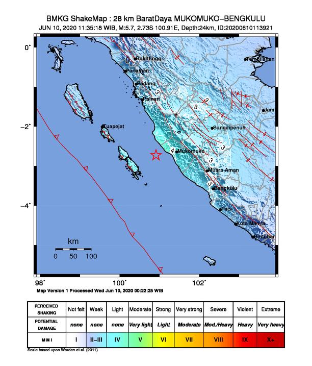 Gempa 5,7 Magnitudo Guncang Muko muko, Goyangkan Kerinci - Sungai Penuh