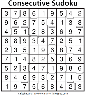 Answer of Consecutive Sudoku Puzzle (Fun With Sudoku #293)