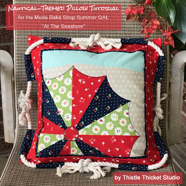 Nautical-Themed Pillow Tutorial by Thistle Thicket Studio. www.thistlethicketstudio.com