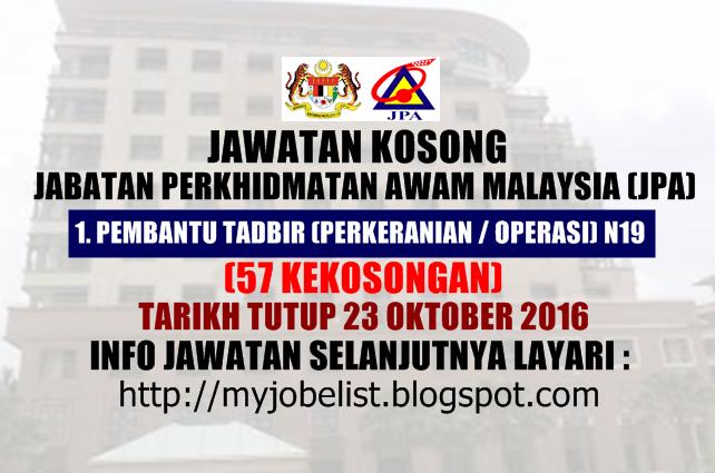 Jawatan Kosong Jabatan Perkhidmatan Awam Malaysia (JPA) Oktober 2016