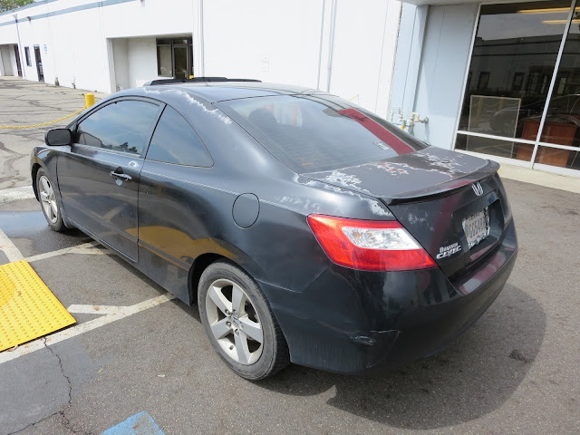 Delaminating paint on 2008 Honda Civic Coupe before repainting at Almost Everything Auto Body