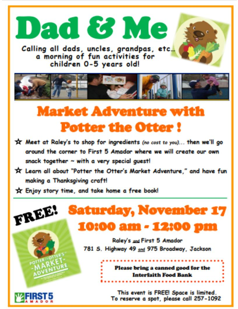 Dad & Me: Market Adventure with Potter the Otter! Sat Nov 17