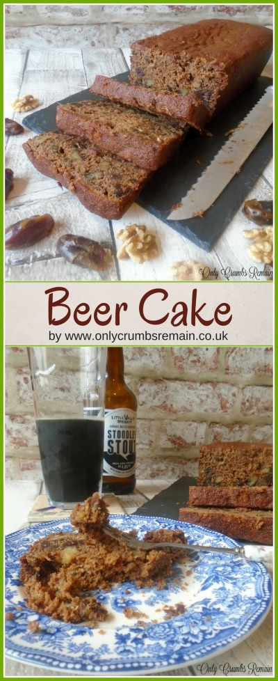 An easy to make homemade beer cake, containing dates, walnuts, spices and stout.