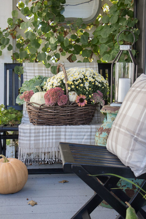 basket instead of planter fall porch