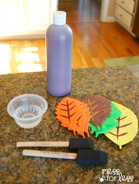 supplies for decorating a fall tree with foam leaves