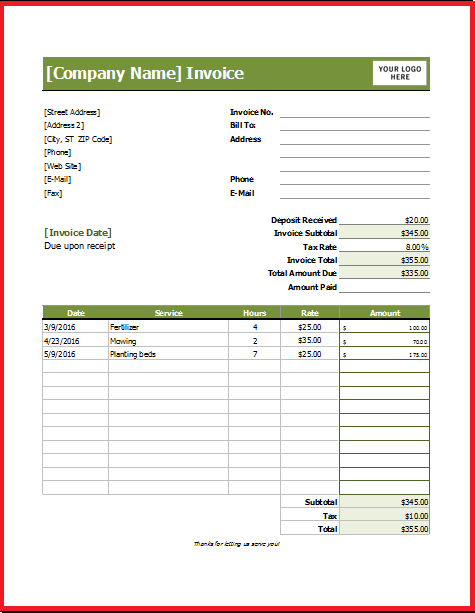 Free Lawn Care Invoice Template   Resume Business Template
