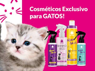 Linha de Produtos exclusivos para gatos, contem, banho a seco para gatos, higienizador de patinhas e Creme hidratante para felinos.