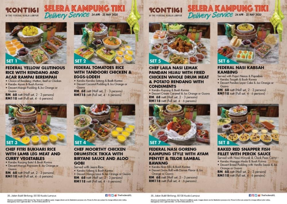 Selera Kampung Tiki, Delivery Service, The Federal Kuala Lumpur, Kontiki Restaurant, Juadah Berbuka Puasa, Bufet Ramadan 2020, Bufet Ramadan di KL, Ramadhan Buffet, New Normal