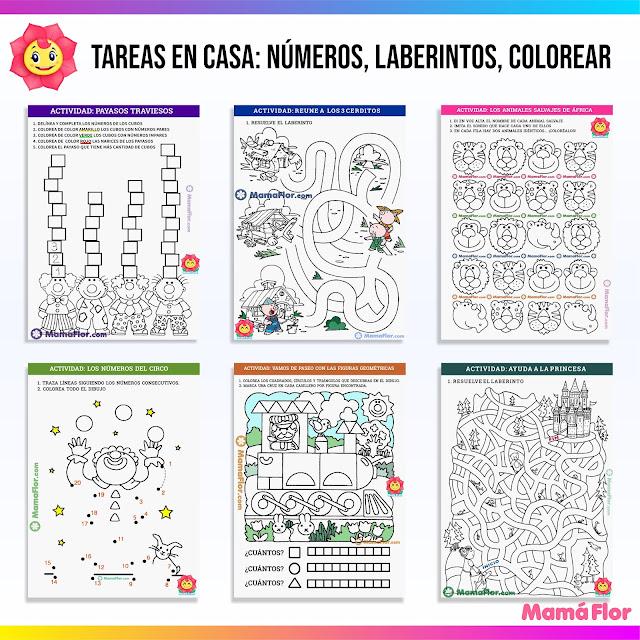 TAREAS EN CASA, LABERINTOS, COLOREAR, NUMEROS, FIGURAS