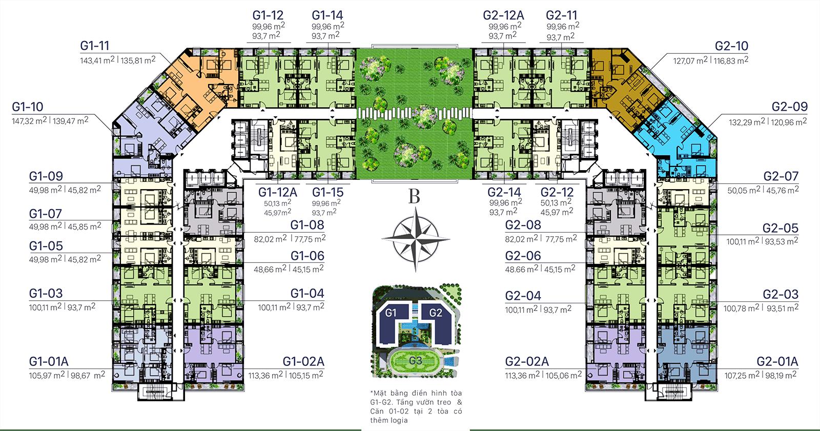 Mặt bằng điển hình toà G1 - G2 Sunshine Garden - Tầng 9