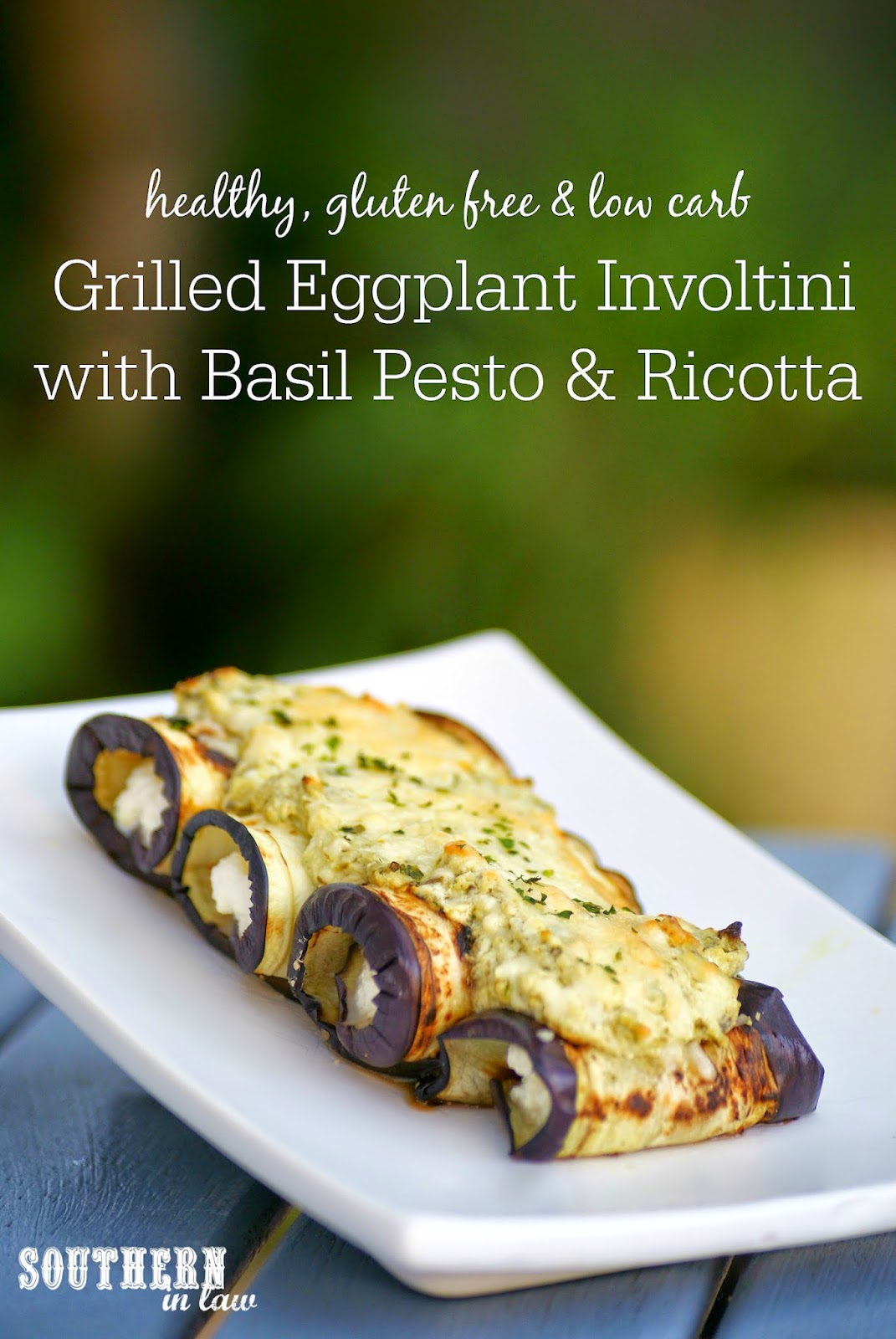 Healthy Eggplant Involtini Recipe with Ricotta and Pesto - healthy, low fat, low carb, gluten free, egg free