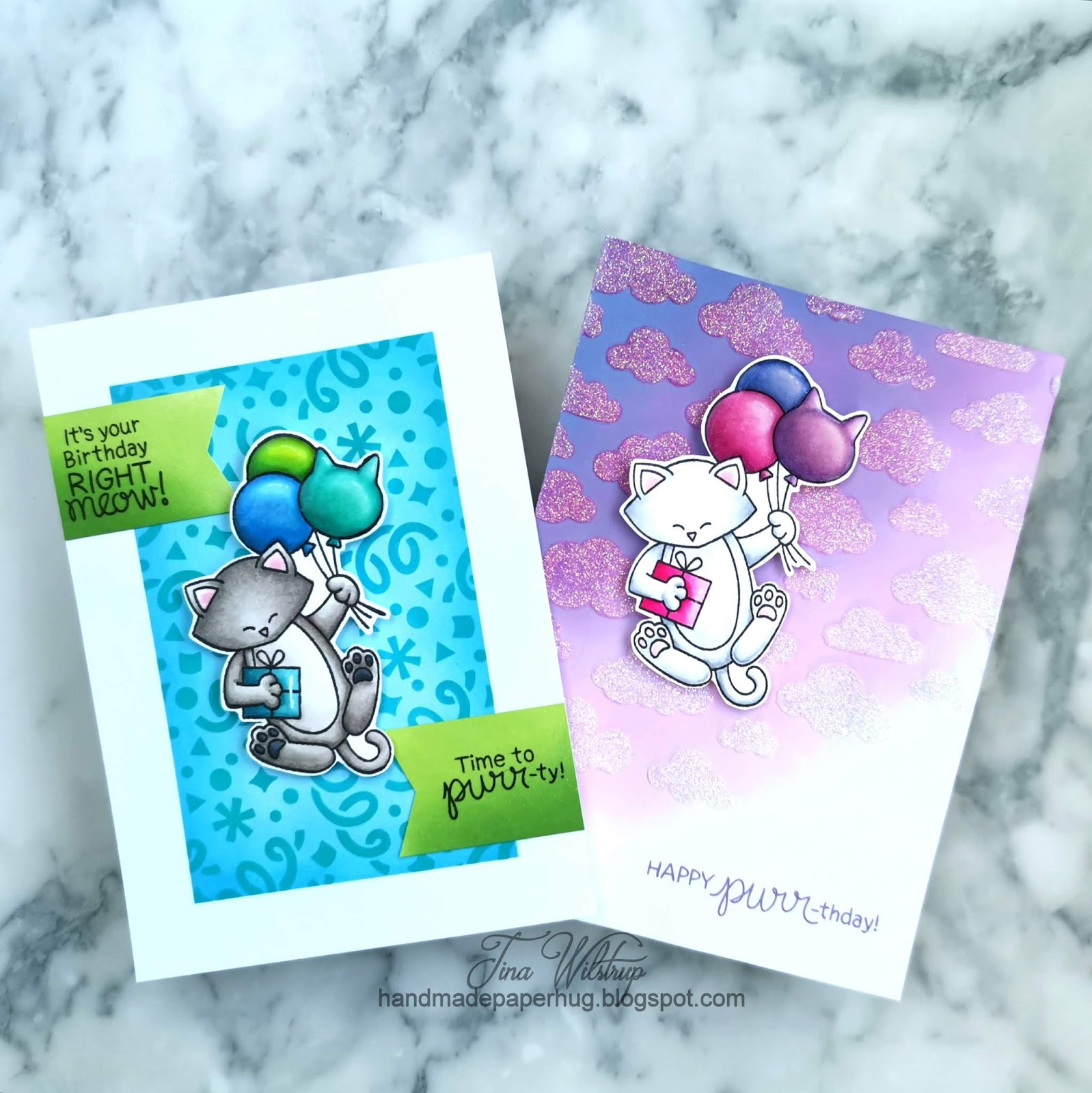 Masculine And Feminine Birthday Cards by January Guest Designer Tina Wilstrup | Newton's Birthday Balloons Stamp Set, Confetti Stencil and Cloudy Sky Stencil by Newton's Nook Designs #newtonsnook #handmade