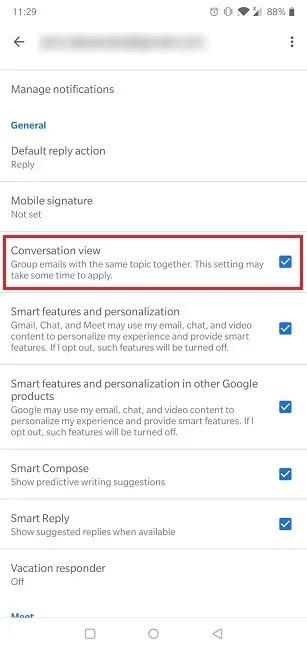 كيفية تعطيل ميزة محادثة Gmail عرض ميزة تعطيل الجوال